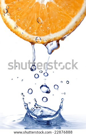 fresh water drops on orange with water splash  isolated on white