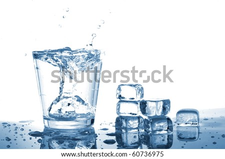 fresh water in glass with ice cubes
