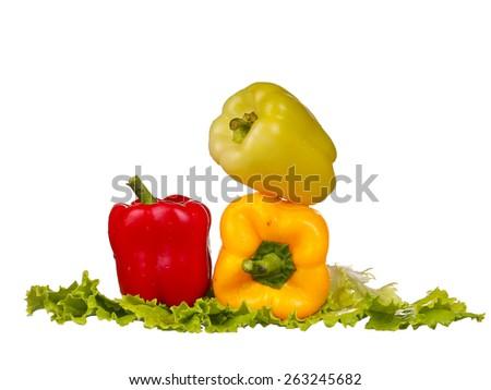 fresh water splash on red sweet pepper  on white background - stock photo