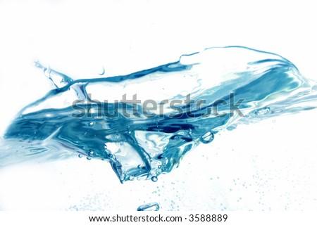 Fresh water splash on white background. - stock photo