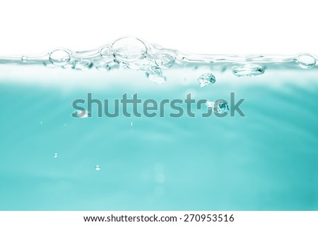 Fresh water with bubbles, abstract background - stock photo