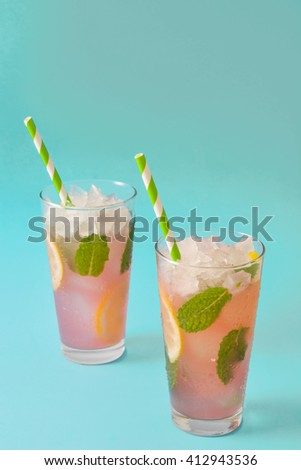 Fresh watermelon mojito. Blue background