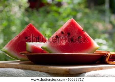 fresh watermelon slices on a white background - stock photo