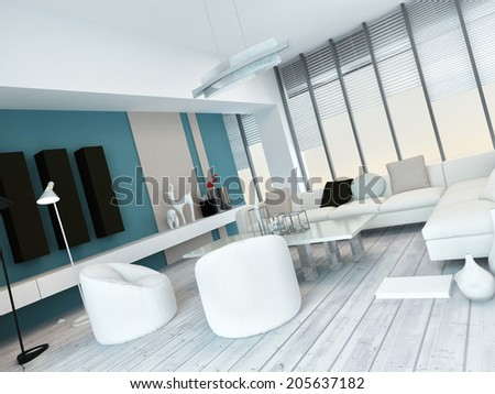 Fresh white and blue living room interior with white painted floorboards, a modern modular white lounge suite, large floor-to-ceiling glass windows and blue wall accents with cabinets - stock photo