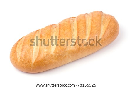 fresh white bread isolated on white background