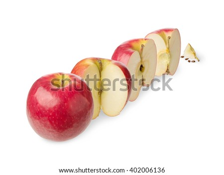 Fresh whole apple, cut in a half,three-quarter, quarter, up to zero isolated on white background
