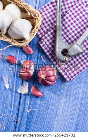 Fresh whole garlic,garlic cloves and press from above - stock photo
