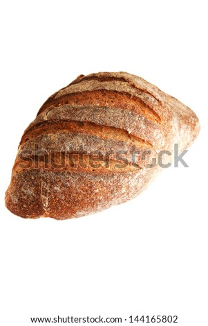 fresh whole rye bread over white background - stock photo