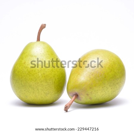Fresh williams pears isolated on white background - stock photo