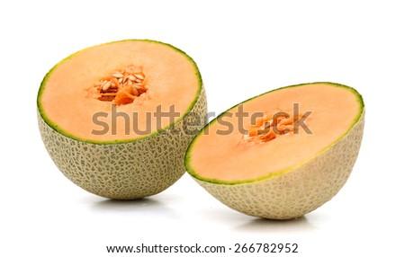 fresh yellow cantaloupe melon on white background  - stock photo