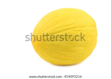 fresh yellow honey melon on a white background - stock photo