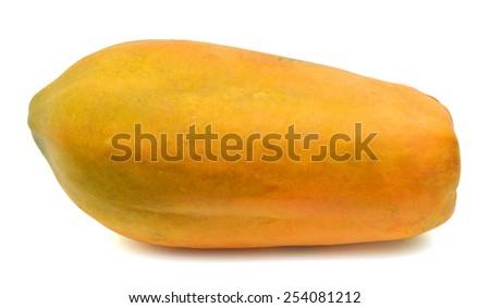 fresh yellow papaya isolated on white - stock photo