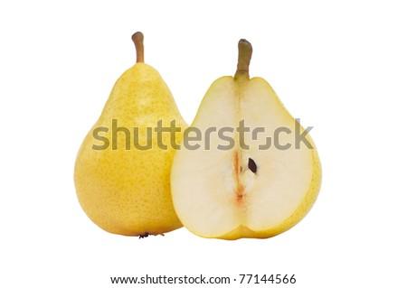 fresh yellow pear, isolated on white - stock photo