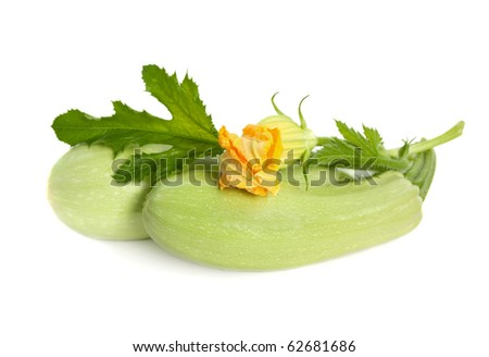 fresh zucchini fruits with green leaves and flower isolated on white background