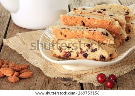 Freshly baked almond and cranberry biscotti. Also available in vertical. - stock photo