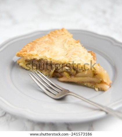Freshly Baked Apple Pie with Flaky Battery Crust - stock photo