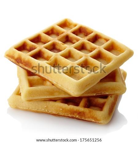 Freshly baked belgium waffles isolated on white background - stock photo