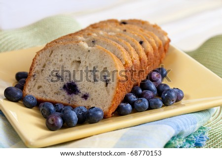 Freshly Baked Blueberry Bread on A Yellow Plate for Breakfast - stock photo