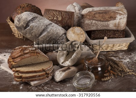 Freshly baked bread on the wooden
