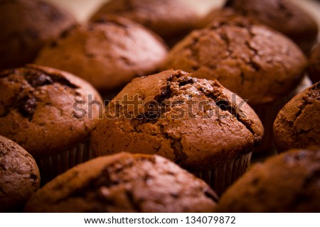 Freshly baked chocolate muffins closeup shoot - stock photo