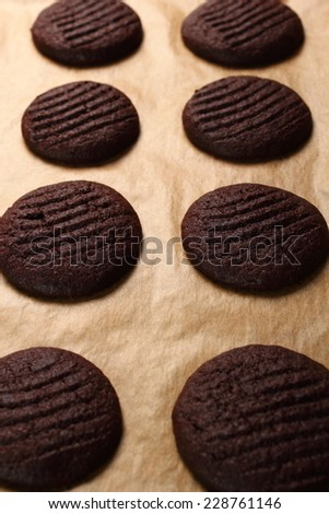 Freshly baked cookies. Making Chocolate Cookies. - stock photo