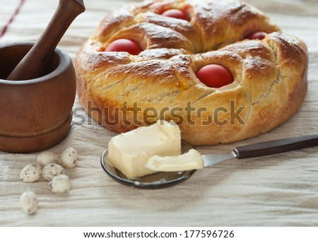 Freshly baked Easter cake. - stock photo