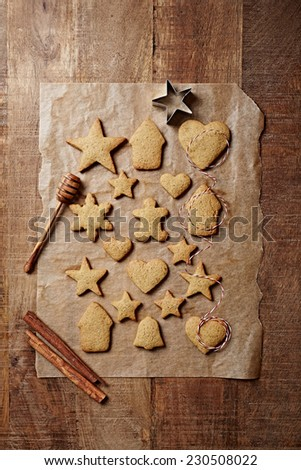 Freshly baked gingerbread cookies   - stock photo