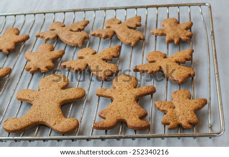 Freshly baked gingerbread cookies on a baking sheet
