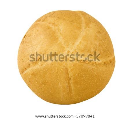 freshly baked kaiser bun on a white background - stock photo