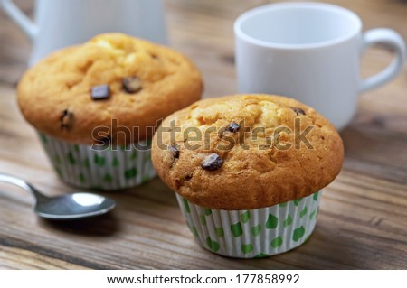 freshly baked muffins with chocolate drops