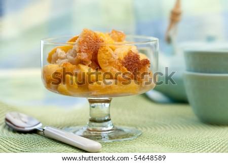 Freshly Baked Peach Cobbler - stock photo