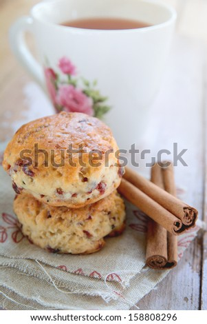 Freshly baked scones, afternoon tea  - stock photo