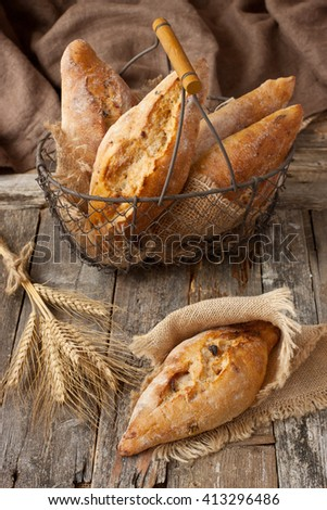 Freshly baked traditional  ciabatta bread
