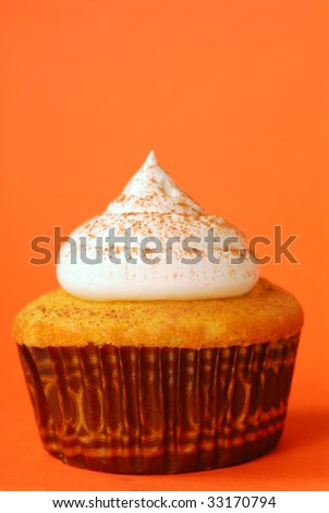 Freshly baked vanilla cupcake with meringue and powdered cocoa - stock photo