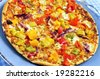 Freshly baked vegetarian pizza with sweet peppers - stock photo