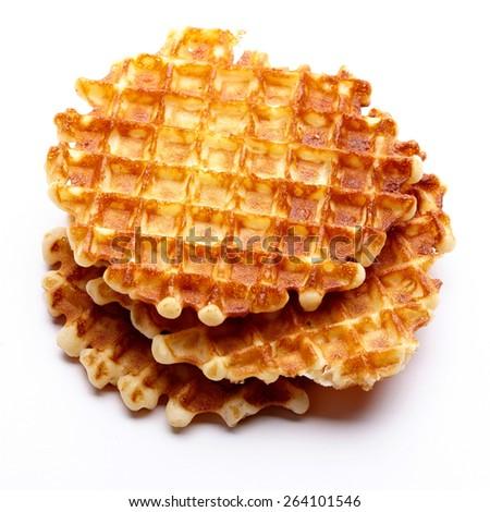 Freshly baked waffles isolated on white background - stock photo