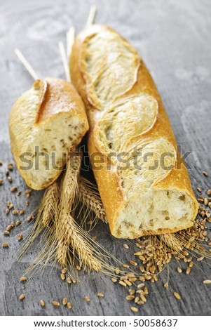 Freshly baked white baguette with wheat ears and grain - stock photo