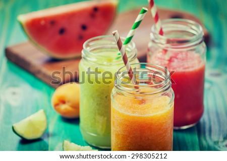 Freshly Blended Fruit Smoothies - stock photo