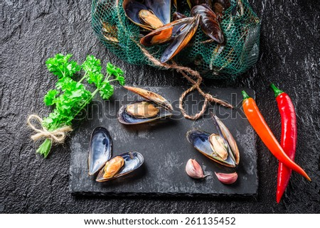 Freshly caught mussels on black rock - stock photo