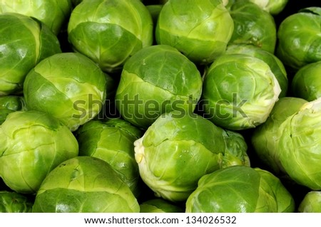 Freshly cleaned Brussels sprouts. - stock photo