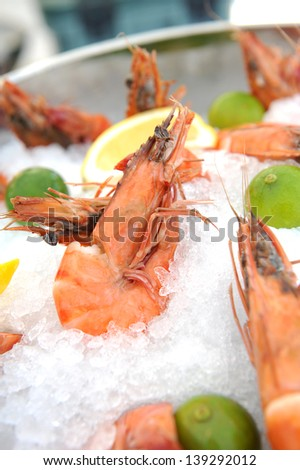 Freshly cooked prawns