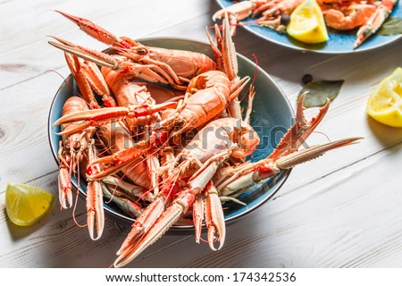 Freshly cooked scampi in a blue bowl - stock photo