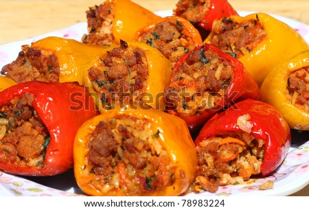 Freshly cooked stuffed peppers - stock photo