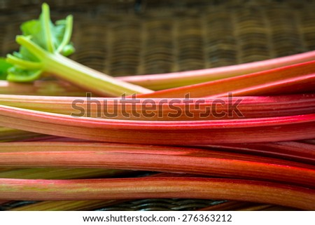 Freshly cut organic rhubarb pieces - stock photo