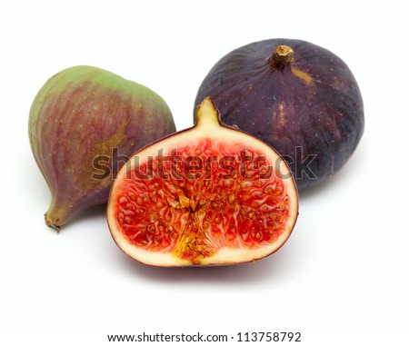 freshly cut piece of fig isolated on white backgrund
