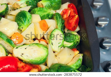 Freshly cut vegetables potatoes, tomatoes, carrot, brussels sprouts for a ragout, seasoned with salt, pepper and olive oil, in a pan to be cooked. Selective focus, main focus on center, copy space - stock photo