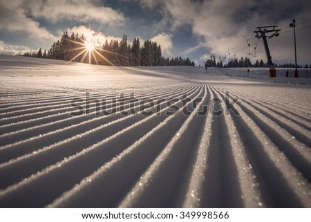 freshly groomed skiing slope in Black Forest, Germany