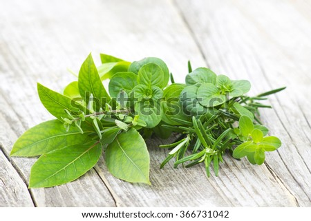 Freshly harvested herbs on wooden background - stock photo