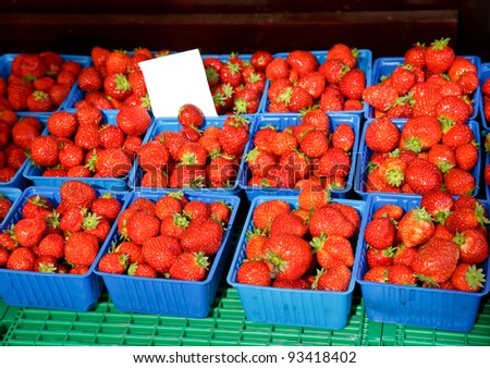 Freshly harvested strawberries at market in Norway