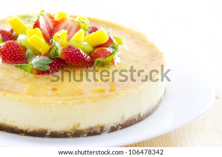 Freshly homemade passion fruit cheese cake
